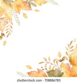 Watercolor frame of leaves and branches isolated on white background. Autumn illustration for greeting cards, wedding invitations, quote and decorations.