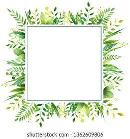 Watercolor frame of leaves. Concept of the nature for the design of invitations, greeting cards and wallpapers.