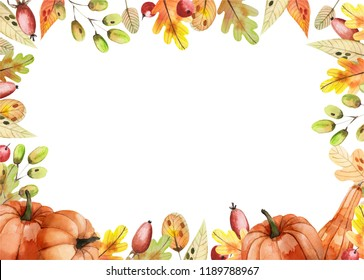 Watercolor frame made of autumn leaves with pumpkins on a white background. Thanksgiving card