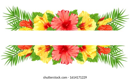 Watercolor frame with red and yellow hibiscus flowers. Hand drawn floral border with tropical flowers and leaves. Wedding invitation, greeting card, design. Tropical composition