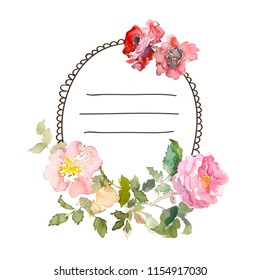Watercolor frame with roses, can be used as invitation card for wedding, birthday and other holiday and summer background. Hand drawn illustration. Place for text