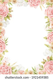 Watercolor frame with roses, lunaria, leaves and sprigs. Decoration for wedding invitations or greeting cards. Pink hand-drawn border with different flowers.