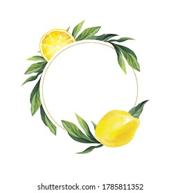 Watercolor frame of a round shape with a gold border, with lemon and leaves. Place your text in the center.