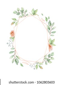 Watercolor frame in soft pastel colors with rose gold element. Elegant illustration with flowers, leaves and twigs. Place for your text