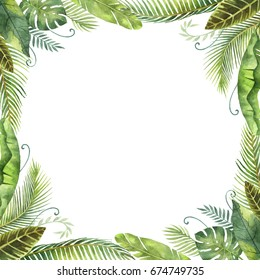 Watercolor frame tropical leaves and branches isolated on white background. Illustration for design wedding invitations, greeting cards, postcards with space for your text.