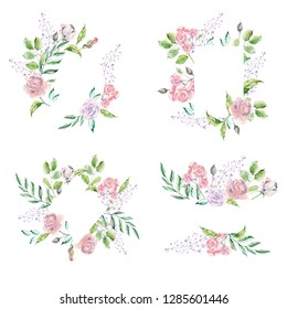 Watercolor frame for wedding or romantic design. Floral composition, natural beauty. Hand drawn illustration.