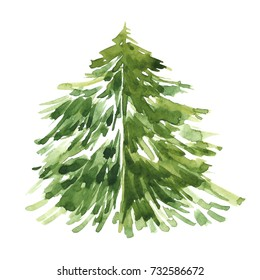 Watercolor freehand illustration of grunge Christmas tree on white background.