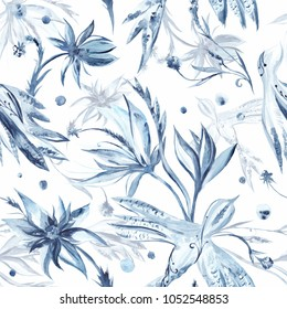Watercolor Fresh Garden Pattern Seamless texture with blue flowers and birds on white background for textile and wallpaper design