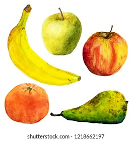 Watercolor fruits. Illustration on white background. Banana, apples, pear, mandarin