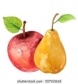Watercolor fruits pear, red apple with leafs closeup isolated on white background. Hand painting on paper