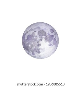 Watercolor full moon on white background. Earth satellite.