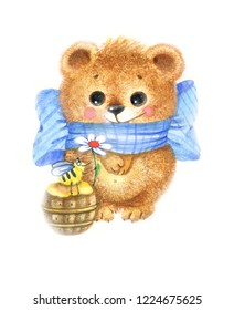 Watercolor funny bear with bee and honey on a white background