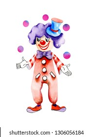 Watercolor funny circus clown juggling balls, watercolor design