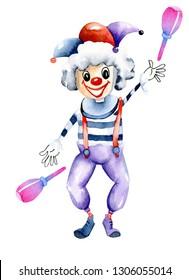 Watercolor funny juggling circus clown, watercolor design