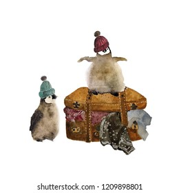 Watercolor funny  penguins in winter hats with travel suitecase full of cloths