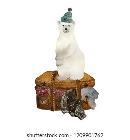 Watercolor funny polar bear in hat sitting on travel suitecase full of cloths