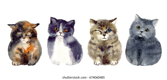 Watercolor funny sketch cats. art illustrations sketch