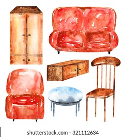Watercolor furniture collection including sofa, armchair, chair, table, dresser, drawer. Furniture icon, banner, logo set