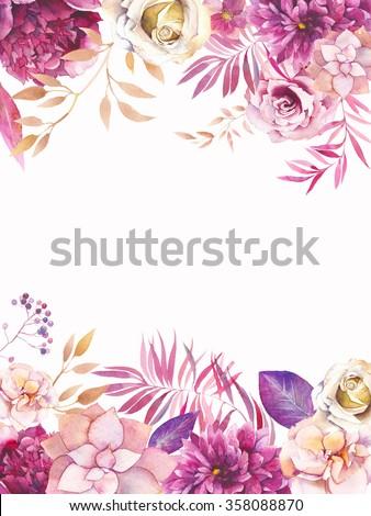 watercolor garden floral wedding invitation handのイラスト素材