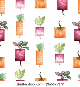 Watercolor garden organic vegetables seamless pattern. Hand drawn background with carrot,beet,pumpkin. Garden organic vegetable food isolated on white background.