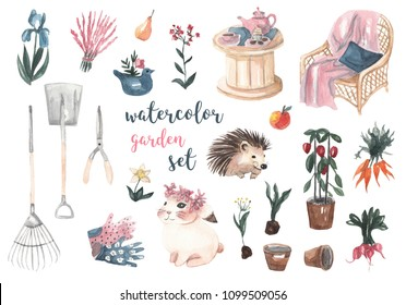 Watercolor garden set. Garden tools, flowers, vegetables, table and chair, hedgehog, rabbit, flower pots, gloves. Watercolor illustration on white isolated background