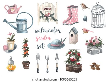 Watercolor garden set. Garden tools, watering cans, flowers, rubber boots, hat, cage, birds, vegetables. Watercolor illustration on white isolated background
