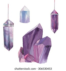 Watercolor gem stones set. Hand drawn collection of crystals and pendants. Artistic mineral  illustrations isolated on white background