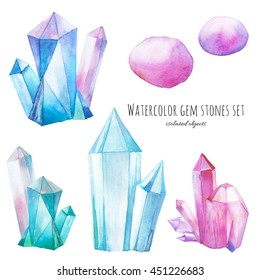 Watercolor gem stones set. Hand painted crystals isolated on white background. Bright design elements. Artistic illustration