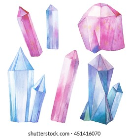 Watercolor gem stones set. Hand painted pink and blue crystals isolated on white background. Bright design elements. Artistic illustration