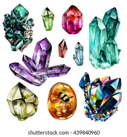 Watercolor Gems collection. Semiprecious crystals. Hand drawn illustration isolated on white background