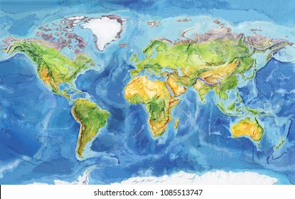 Watercolor geographical map of the world. Physical map of the world. Europe, Asia, Africa, Australia, North America, South America, Antarctica, Indonesia. A realistic image.
