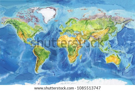 Watercolor Geographical Map World Physical Map Stock Illustration