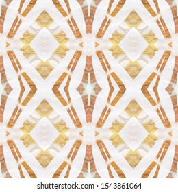 Watercolor Geometric Background. Abstract Ethnic Design. Seamless Tie Dye Rapport. Ethnic Russia Motif. Pastel Brown, Pink Blue Seamless Texture. Ikat Watercolor Geometric BG.