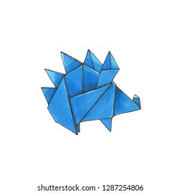 Watercolor geometric illustration of hedgehog origami. Hand drawn doodle style, isolated on white background.