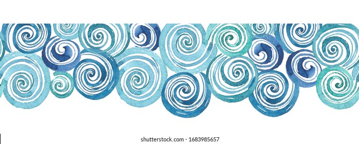 Watercolor geometric shapes Seamless Border, card making,  illustration isolated on white background
