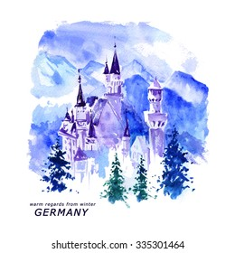 Watercolor Germany outdoor landscape illustration. Hand drawn artistic German nature picture. European tree, mountain, castle, tower, sky winter painting. Book, article, magazine, cover, print design.