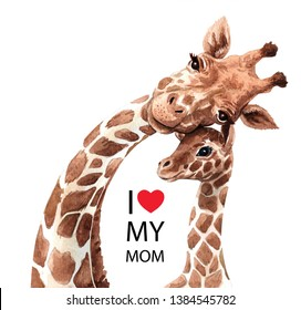 Watercolor Giraffe illustration. Safari animal. Watercolor mom giraffe and baby drawing, for Baby shower card layer path, clipping path isolated on white background.