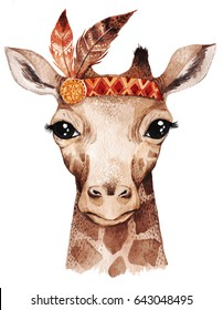 Watercolor giraffe portrait, cute boho design with feathers. Nursery prints with animals , posters and postcards.