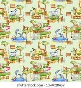 Watercolor giraffes, zebra and whales at the zoo seamless pattern, hand drawn on a green background