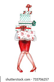 Watercolor girl with christmas gift boxes