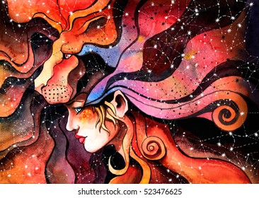 watercolor girl in the mask of a lion symbolizes the zodiac sign