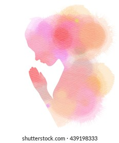 Watercolor of a girl praying or meditating. Digital art painting.