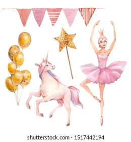 Watercolor girly set. Ballerina doll, unicorn, flag garland, balloons. Hand drawn toys and party decor collection. Isolated objects
