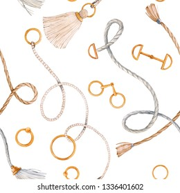 Watercolor glamorous  seamless pattern with chains, belts and ropes. gold ring