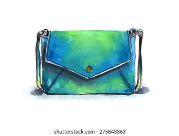 Watercolor glamour shoulder bag illustration