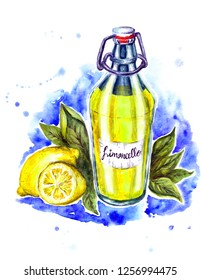 Watercolor glass bottle of juicy yellow limoncello