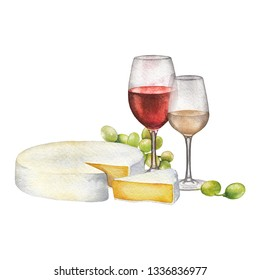 Watercolor glasses of red and white wines, camembert cheese and white grapes. Kitchen still life. Hand painted artwork isolated on white background