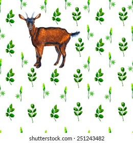 Watercolor goat and leaves seamless pattern