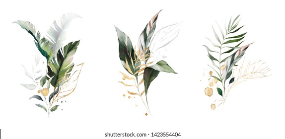 watercolor and gold leaves. herbal illustration. Botanic tropic composition.  Exotic modern design