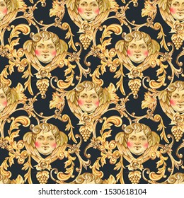 Watercolor golden baroque angel seamless pattern, floral curl, rococo ornament texture. Hand drawn gold scroll, grape, leaves on black background. Vintage design wallpaper.